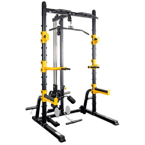 reeplex rm70 heavy duty squat rack with lat pulldown seated row